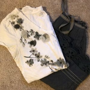 White t-shirt with grey flower embellishments